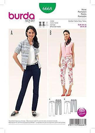Burda Damen Schnittmuster 6668 Jeans & Hose + gratis Minerva Crafts ...
