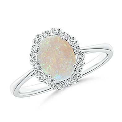 Angara Opal Ring with Diamond Halo in Platinum - October Birthstone Ring TG2XnAzyuY