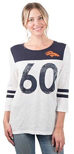 NFL Women's Denver Broncos T-Shirt Vintage Distressed 3/4 Long Sleeve Tee Shirt, Small, (Denver Broncos Long Sleeve Shirt)
