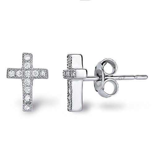 Spoil Cupid Rhodium-Plated Sterling Silver Cubic Zirconia Classic Mini Cross Stud Earrings