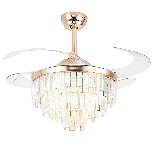 - Ceiling Fan with Light, Pendant Lamp with Invisible Blade, Crystal Chandelier with Remote Control to Adjust Fan Speed and Wind Direction