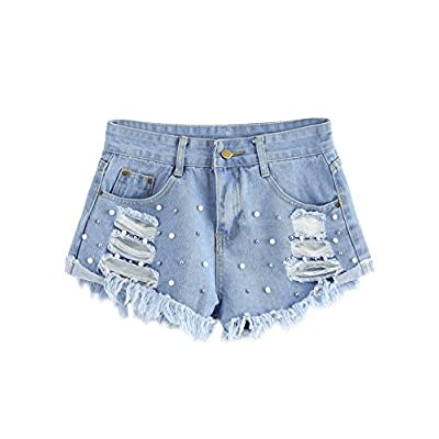 WDIRA Women's Causal Faux Pearl Beading Raw Hem Ripped Denim Loose Shorts