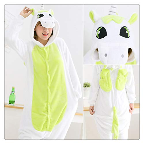 Unicorn Stitch Panda Unisex Flannel Pajamas Adults Anime Animal Onesies Winter Warm Sleepwear Hoodie for Women Men Green Unicorn M]()