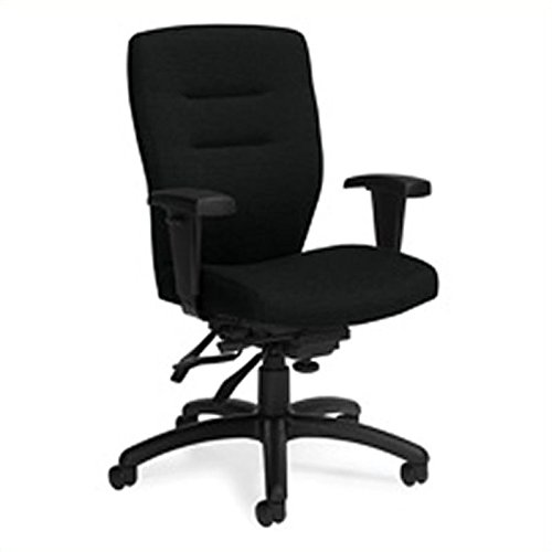 Global Synopsis Medium Back Multi Tilter Office Chair in Black Coal