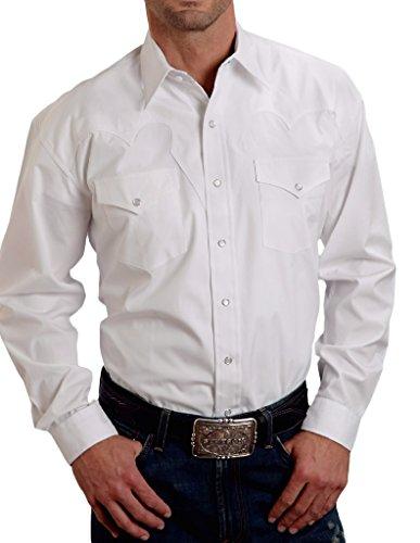 Stetson Men's Solid White Fancy Yoke Western Shirt White (Western Yoke)