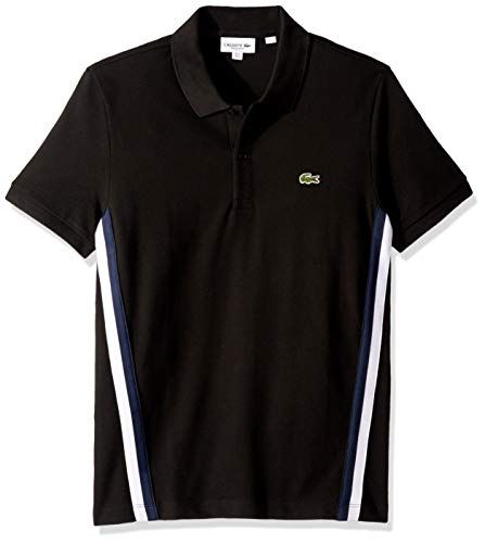Lacoste Men's S/S Striped Pique Polo Regular FIT, Black, XXX-Large