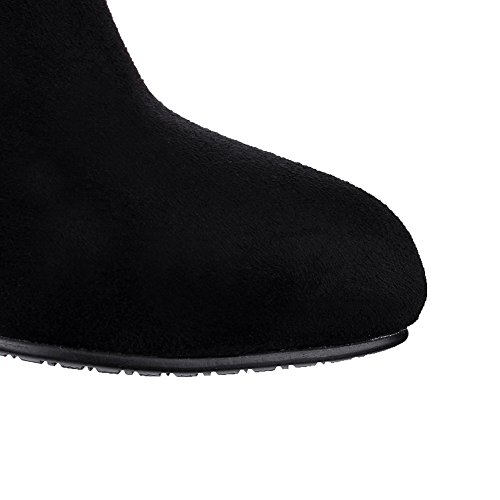Allhqfashion Women's Pointed Closed Toe High-Top Kitten-Heels Solid Imitated Suede Boots Black nw0M8pJxS