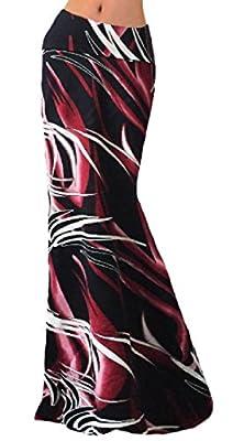 CuteRose Women's Side Slit Full Length Fold Over WaistParty Skirts