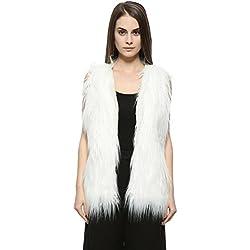 Dikoaina Womens Girls Shaggy Sleeveless Faux Fur Vest Coat Waistcoat Jacket