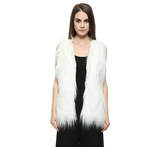 Dikoaina Womens Girls Shaggy Sleeveless Faux Fur Vest Coat Waistcoat Jacket