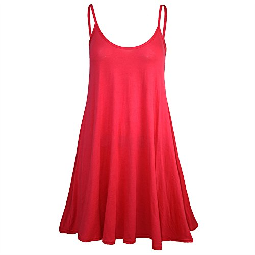 Lovor Spaghetti Strap Women's Solid Sleeveless Adjustable Strappy Camisol Summer Beach Swing Pleated A-Line Dress Mini Dress (Red,M)