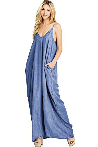 LOVE STITCH Women's Long Flowy Chambray Maxi Dress (M/L, Dark Denim)