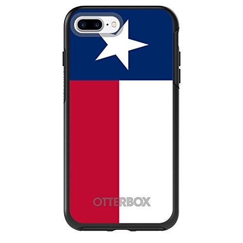 (DistinctInk Case for iPhone 7 Plus / 8 Plus - Black Custom OtterBox Symmetry - Texas State Flag - US State Flag)