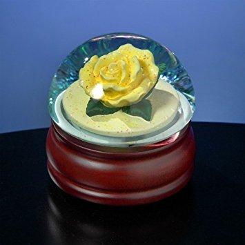 (The San Francisco Music Box Company Yellow Rose Water Globe)