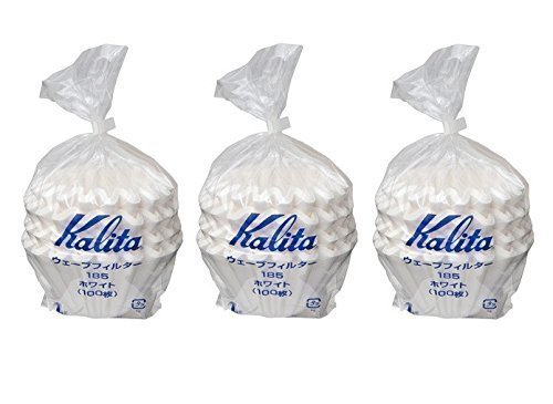 (3 X Kalita: Wave Series Wave Filter 185 (2-4 Persons) White. 300 Pieces (Japan Import))