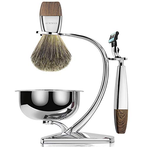 (ACRIMAX Premium Shaving Brush Set with 100% Pure Badger Shaving Brush, Luxury Brush Stand, Soap Bowl and Manual Safety Razor(mach3) Kits for Gentleman)