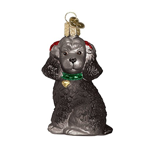 Old World Christmas Glass Blown Black Poodle Ornament