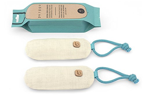PURGGO Natural Bamboo Charcoal Odor Eliminator [Pack of 2] - Air Freshener, Purifier, Smell Absorber with Activated Carbon: Odor Removal, Deodorizer for Shoes, Litter Box, Closets [Classic Beige]