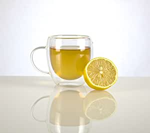 Tea & Coffee Glass Cup by VizCása - Insulated Double-Wall Mug with Handle (8 Oz) Tea, Espresso, Latte, Juice, Water Coffee & Tea Mug - 1 Glass