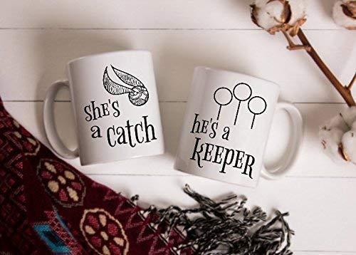 - Harry Potter Inspired Mug Set | She's a Catch, He's a Keeper