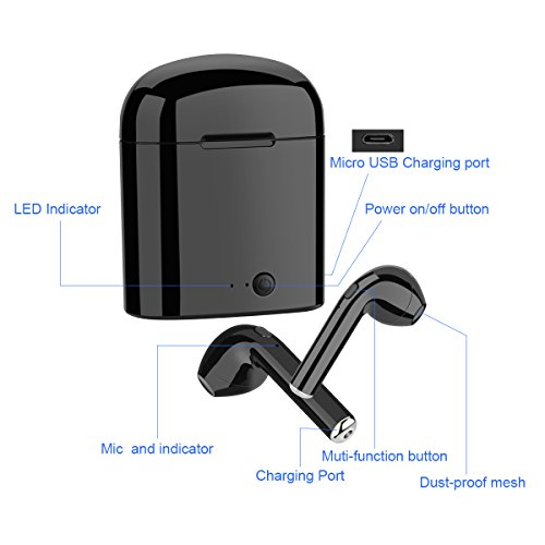 Wireless Earbuds, coolsun Bluetooth Headphones Mini In-Ear Headsets Sports Earphone with 2 True Wireless Earbuds for iPhone X/8 /7/ 7 plus/ 6/ 6s plus Android, Samsung Smartphones - Image 3