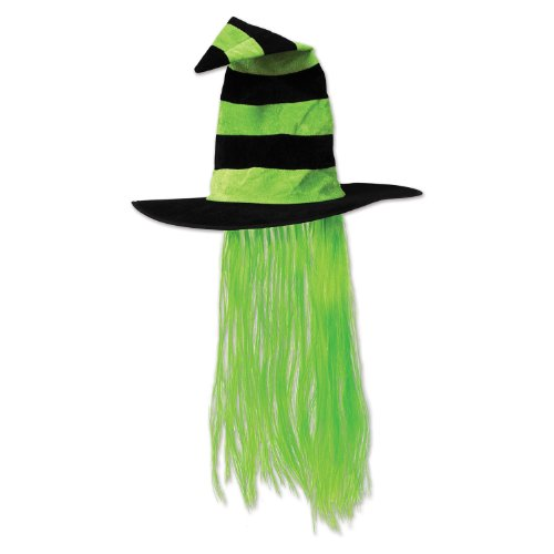 Beistle 00713-LG Witch Hat with (Witch Wig Stripes)