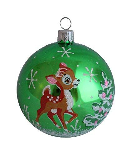 Amazon Com Christmas Ball Bambi Deer Green 3 Inch Glass Christmas