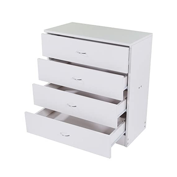Dressing Table Storage Chest Drawer Modern Wood Bedroom Furniture White (4-Drawer,White) - TRADITIONAL & ELEGANT: Featuring classic lines, a solid platform, and accented with curved metal handles, this dresser is sure to impress! STYLISH STORAGE: With 4 spacious drawers, gliding smoothly on metal slides, you'll stay organized and tidy with this compartmentalized dresser. ITS IN ANY ROOM: This traditional and clean dresser will easily store clothing and linens in your kids bedroom . It's versatility is perfect for any storage needs! - dressers-bedroom-furniture, bedroom-furniture, bedroom - 416Sif0dFKL. SS570  -