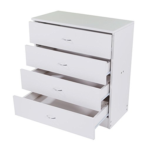 happyday04 Modern White Chest of Drawers Storage Organizer Cabinet Wood Simple 4 Drawer Dresser Storage for Bedroom Furniture Wooden Storage Cabinet with Drawers