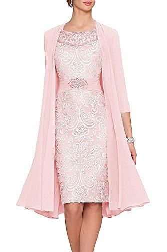 Giorno Vestito Vestiti Donna Corto In 3 Casuale Elegante Cerimonia Eleganti Camicia Vestitini Pizzo Mare Da Pink Abiti Chiffon 4 Manica q1xg7qwPr