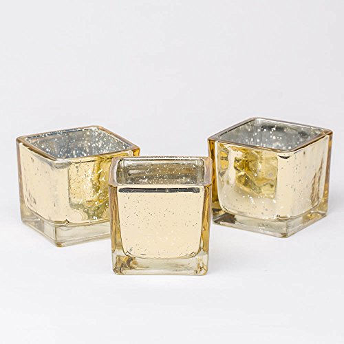 Richland Metallic Gold Mercury Square Votive Holders Set of - Metallic Glass Votive