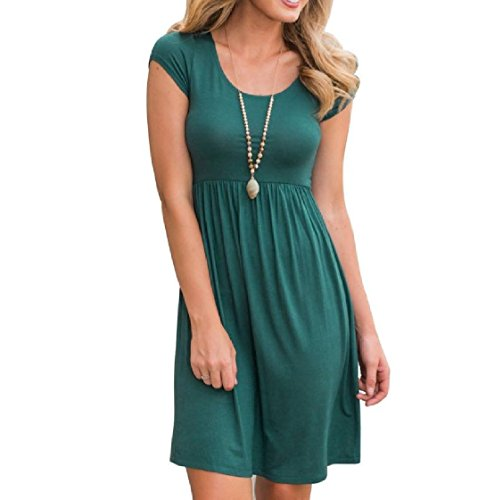 Cocktail Sleeves Short Dress Neck Solid Clubwear Colored Round Coolred Green Exotic Casual Women Pq0wYn4z