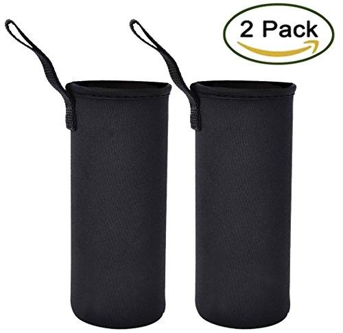 Outgeek Bottle Sleeve Water Bottle Holder Neoprene Carrier 2Pack Black
