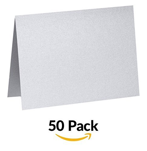 Casual Correspondence Cards (A6 Folded Card (4 5/8 x 6 1/4) - Silver Metallic (50Qty) | Perfect for Personal Stationery, Invitation Suite Inserts, Casual Correspondence and much more! | PGCST919-50 by Envelopes.com)