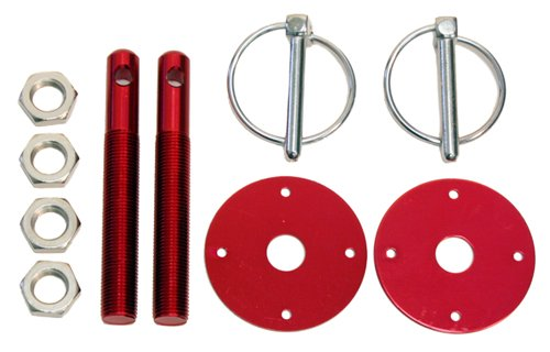 - CFR Performance Compatible/Replacement for Chevy/Ford/Mopar Aluminum Hood PIN KIT FLIP-Over Style - RED