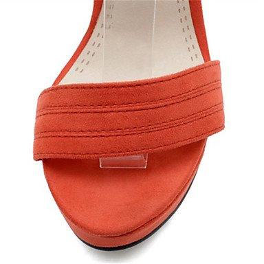 LvYuan Mujer-Tacón Robusto-Gladiador-Sandalias-Informal Vestido-Terciopelo-Negro Rosa Naranja Orange