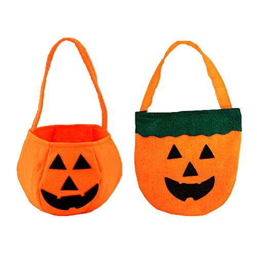 Halloween Pumpkin Candy Bags For kids, Trick or Treat, Non Woven Fabrics (2 Packs -