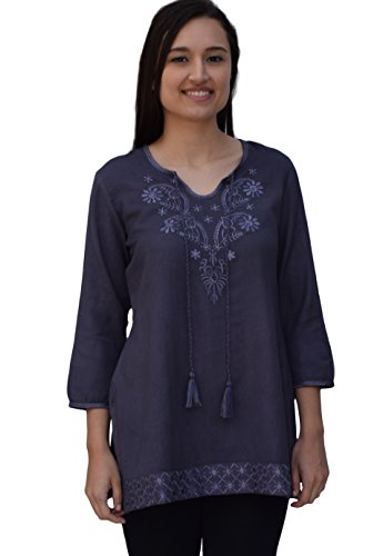 Ayo Pure Cotton, Embroidered Tunic, Top, Kurti, with Tassles: Taupe: Sz 4X