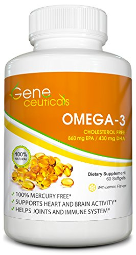 Natural Omega 3 Supplement  Dha 430Mg Epa 860Mg  Burpless With Lemon Oil   Supports Joint  Heart And Brain Health   60 Softgels
