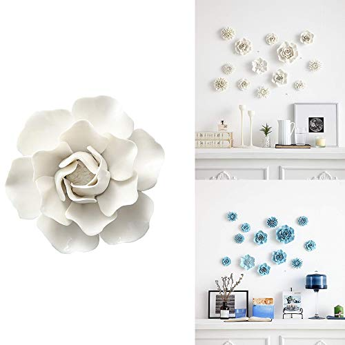 ALYCASO Artificial Flowers Wall Decoration for Living Room Bedroom Hanging 3D Wall Art Ceramic Flower Pediments Sculpture White, F2