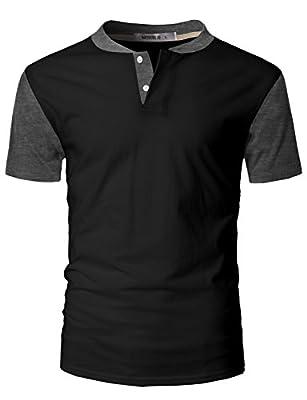 IDARBI Men's Casual Slim Fit Raglan Baseball Short Sleeve Henley T-Shirt