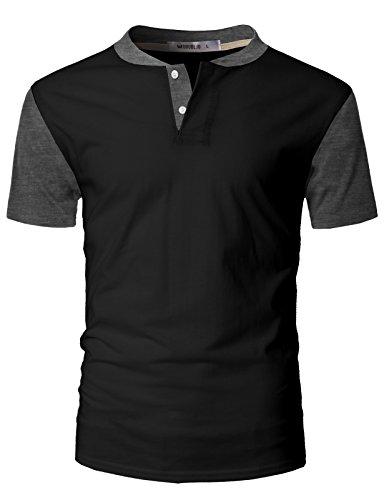 IDARBI Mens Casual Slim Fit Raglan Baseball Short Sleeve Henley T-Shirt