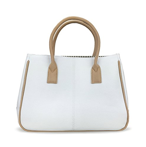 Hoxis Classical Office Lady Minimalist Pebbled Faux Leather Handbag Tote/ Magnetic Snap Purse (Khaki&White)