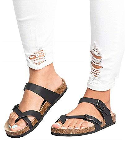 JOYCHEER Womens Cork Flat Sandals Gladiator Buckle Anckle Strap Thong Summer Slides (Slides Thong Leather)