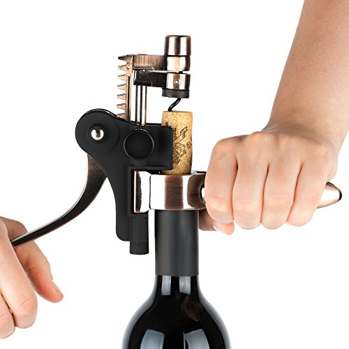Screwpull Lever Model Stand (Wine Opener Set - Corkscrew, Foil Cutter, Vacuum Wine Stopper, Extra Spiral and Stand - Open a Bottle in 3 Steps)