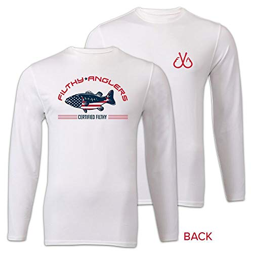 (Filthy Anglers Patriotic Long Sleeve Fishing Shirt (Large, White))