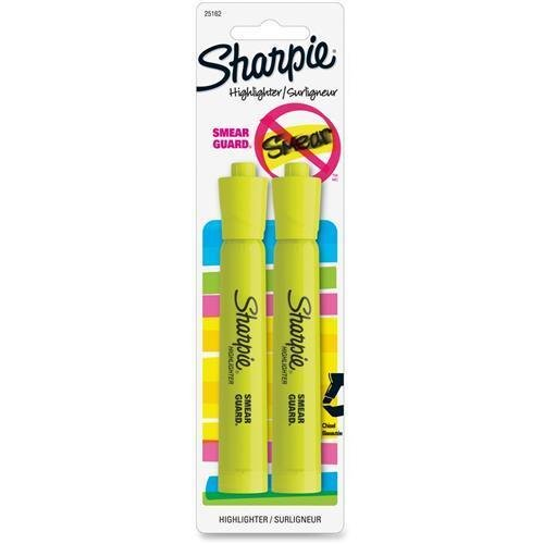 25162PP Sharpie Accent Highlighter - Wide, Narrow Marker Point Type - Chisel Marker Point Style - Fluorescent Yellow Ink - Fluorescent Yellow Barrel - 2 / Pack