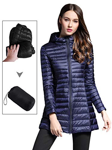Puffer Jacket Girls Hooded (Sunseen Women's Lightweight Thin Puffer Jacket Hooded Packable Down Coat Spring Slim Outdoor Sports Travel Parka Outerwear)