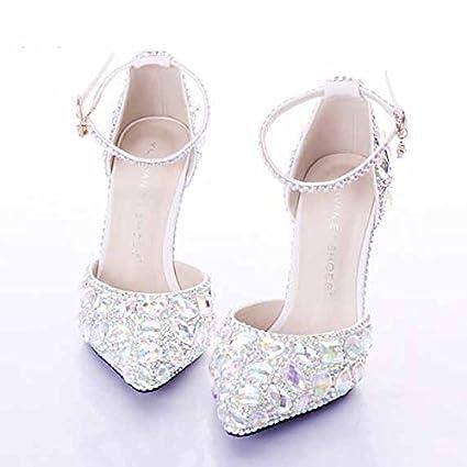 grande qualità cieco nuova collezione VIVIOO Tacchi Alti Scarpe Scarpe da Sposa Diamante Scarpe Bianche ...
