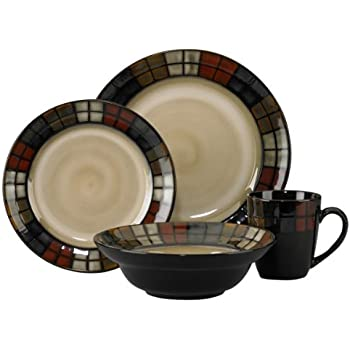 Pfaltzgraff Everyday Calico 16-Piece Dinnerware Set (Service for 4)  sc 1 st  Amazon.com & Amazon.com | Pfaltzgraff Tahoe 16-Piece Stoneware Dinnerware Set ...
